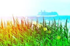 Зеленая трава при запачканное несосредоточенное туристическое судно плавая прочь на горизонте захода солнца Зачатие каникул стоковые изображения rf