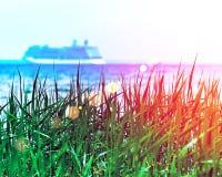 Зеленая трава при blurried несосредоточенное туристическое судно плавая прочь на горизонте захода солнца Зачатие каникул RGB тони стоковое изображение