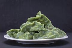 Зеленая тусклая сумма, китайская еда Вареники с мясом говядины или картофельными пюре или творогом в тесте с spirulina Стоковое фото RF