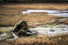Зеленая шлюпка строки утонутая в воду на болоте на побережье Кента стоковое изображение