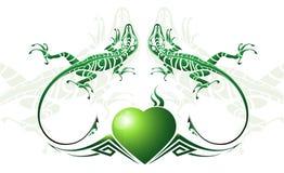 зеленая ящерица стилизованная Стоковая Фотография RF