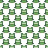 Зеленого цвета картины искусства сыча цвета стилизованного seemless белые иллюстрация вектора