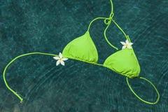 Зеленое бикини плавая с цветками pulmeria Стоковая Фотография RF