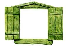 Зеленое деревянное окно Стоковые Изображения