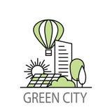 Зеленое знамя города Стоковое Изображение