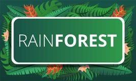 Зеленое знамя концепции тропического леса, стиль мультфильма иллюстрация штока