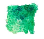 Зеленое изолированное пятно краски акварели, Стоковое Изображение