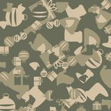 Зеленое и бежевое камуфлирование рождества с изображениями подарков бесплатная иллюстрация