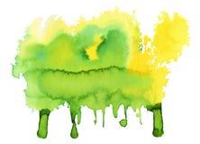 Зеленое и желтое пятно акварели стоковые фотографии rf