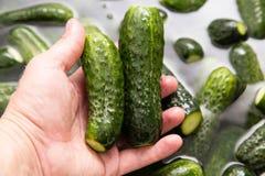 Зеленое мытье огурцов в воде в руке Стоковая Фотография RF