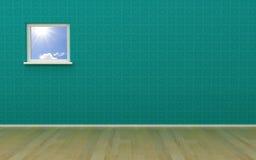 зеленое окно комнаты Стоковая Фотография