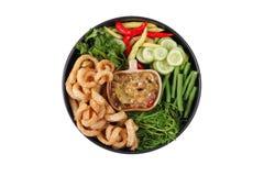 Зеленое погружение chili как гарнир Nam Prik Num, который служат Стоковая Фотография
