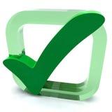 Зеленое тикание показывает качество и высокий профессионализм Стоковые Фотографии RF