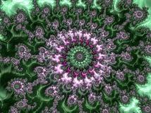 Зеленой и розовой абстрактной фракталь текстурированная спиралью, 3d представить стоковые изображения rf
