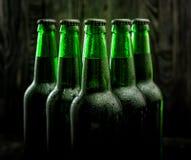 Зеленые бутылки пива Стоковые Фотографии RF