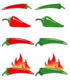 зеленые горячие перцы красные Стоковые Фотографии RF