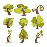 Зеленые деревья и значки лист дерева или шаблоны логотипа бесплатная иллюстрация