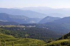 Зеленые ели и дома деревни Dragobrat против предпосылки прикарпатских гор в лете Украина Стоковые Фото
