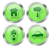 Зеленые живущие кнопки иконы Стоковые Фотографии RF