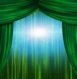 Зеленые занавесы театра бесплатная иллюстрация