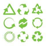 зеленые иконы рециркулируют Стоковые Изображения RF