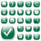 зеленые иконы установили сеть Стоковая Фотография RF