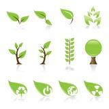 зеленые иконы иллюстрация вектора