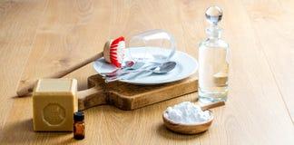 Зеленые ингридиенты и эфирные масла на очищать и отечественная жизнь Стоковое Изображение RF