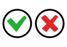 Зеленые и красные кнопки Зеленые контрольная пометка и Красный Крест r иллюстрация штока