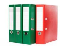 Зеленые и красные связыватели кольца Стоковые Изображения