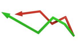Зеленые и красные стрелки представляя колебания рынка и финансы дела иллюстрация вектора