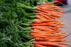 Зеленые и оранжевые моркови на рынке глохнут Стоковые Фото