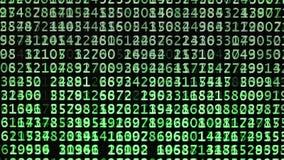 Зеленые коды с переченем случайных номеров на экране компьютера для обнаружения пароля имени пользователя иллюстрация вектора