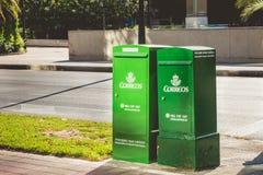 Зеленые коробки почты компании Correos Стоковое Фото