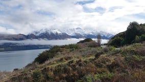 Зеленые куст и озеро Wakatipu на приводе Glenorchy сценарном, Новой Зеландии стоковые фотографии rf
