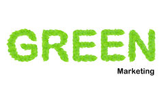 зеленые листья сделали выходить на рынок вверх по слову Стоковые Изображения RF