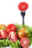 Зеленые овощи и томаты Стоковые Фото
