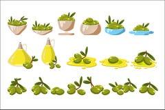 Зеленые оливки установили, оливковое масло в иллюстрациях вектора кувшина стекла на белой предпосылке иллюстрация штока