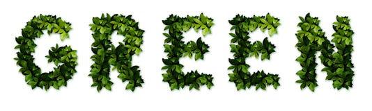 зеленые письма стоковая фотография rf