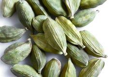 Зеленые семена кардамона на белой предпосылке Взгляд сверху Конец-вверх Стоковое Фото