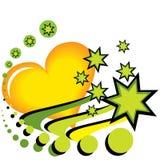Зеленые сердце и звезда Иллюстрация штока