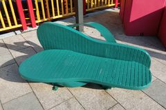 Зеленые тапочки формируют стул на парке Гонконге Shatin Стоковые Фото