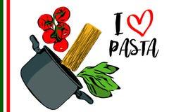 Зеленые травы, завтрак-обед красных томатов вишни и spaghettini идя к баку на белой предпосылке иллюстрация штока