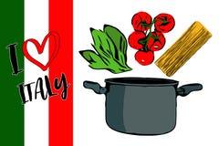 Зеленые травы, завтрак-обед красных томатов вишни и spaghettini идя к серому баку бесплатная иллюстрация