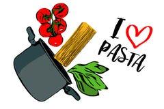 Зеленые травы, завтрак-обед красных томатов вишни и spaghettini понижаясь в серый бак на белой предпосылке иллюстрация вектора