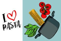 Зеленые травы, завтрак-обед красных томатов вишни и spaghettini понижаясь в серый бак на голубой предпосылке иллюстрация вектора