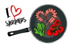 Зеленые травы мультфильма, завтрак-обед красных томатов вишни и форма сердца 2 креветок внутри лотка иллюстрация вектора
