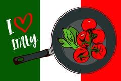 Зеленые травы мультфильма и завтрак-обед красных томатов вишни внутри сковороды бесплатная иллюстрация