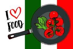 Зеленые травы мультфильма и завтрак-обед красных томатов вишни внутри сковороды Взгляд сверху сковороды иллюстрация штока