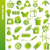 зеленые установленные иконы Стоковые Фотографии RF